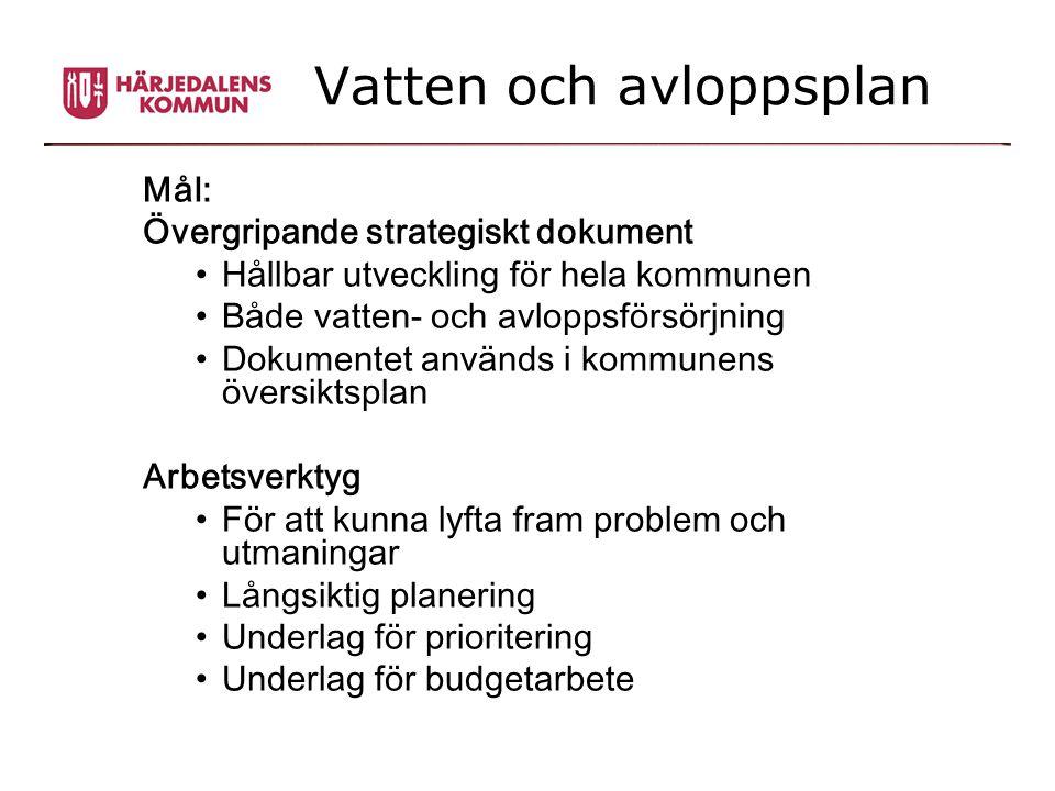 Vatten och avloppsplan Mål: Övergripande strategiskt dokument •Hållbar utveckling för hela kommunen •Både vatten- och avloppsförsörjning •Dokumentet a