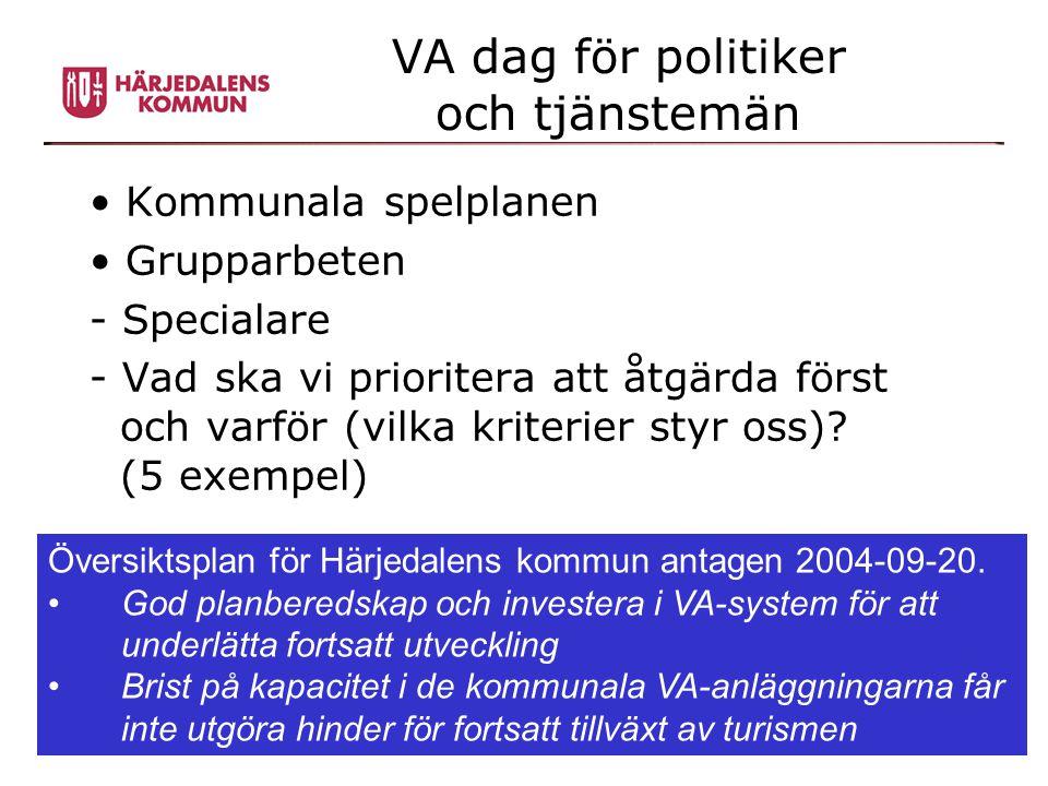 VA dag för politiker och tjänstemän • Kommunala spelplanen • Grupparbeten - Specialare - Vad ska vi prioritera att åtgärda först och varför (vilka kri