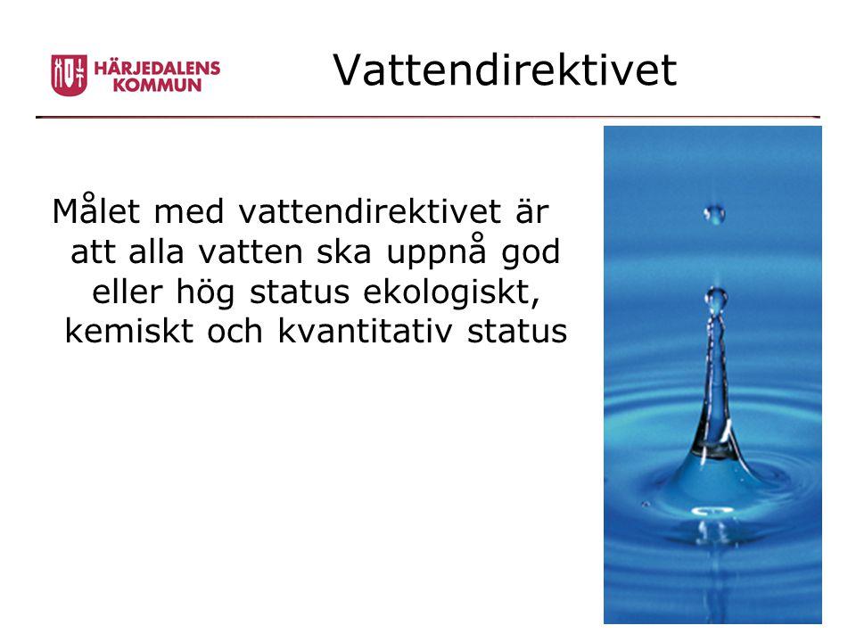 Vattendirektivet Målet med vattendirektivet är att alla vatten ska uppnå god eller hög status ekologiskt, kemiskt och kvantitativ status