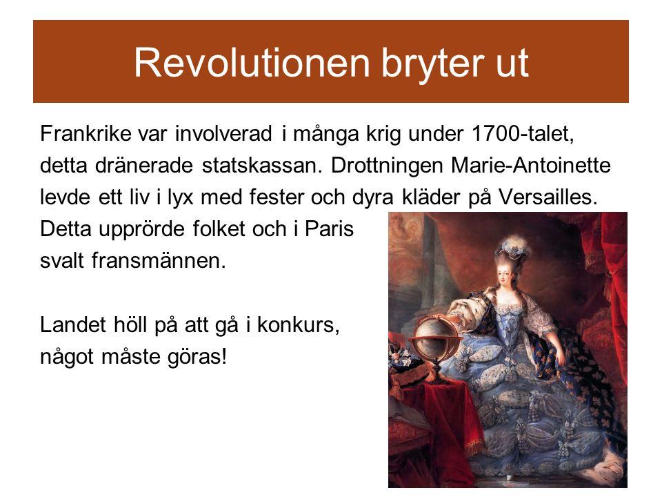 Revolutionen bryter ut Frankrike var involverad i många krig under 1700-talet, detta dränerade statskassan.
