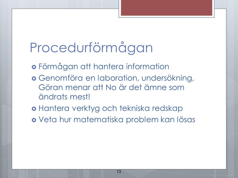 Procedurförmågan  Förmågan att hantera information  Genomföra en laboration, undersökning, Göran menar att No är det ämne som ändrats mest!  Hanter