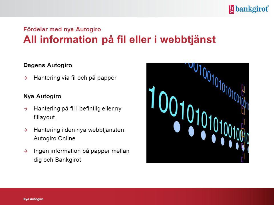Nya Autogiro Fördelar med nya Autogiro All information på fil eller i webbtjänst Dagens Autogiro  Hantering via fil och på papper Nya Autogiro  Hant