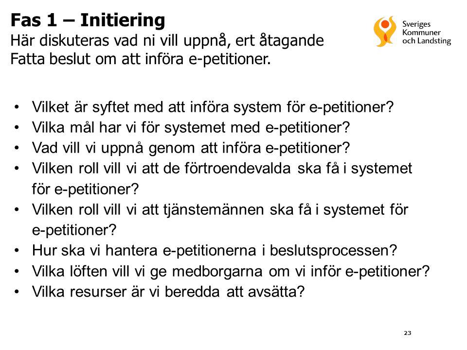 23 Fas 1 – Initiering Här diskuteras vad ni vill uppnå, ert åtagande Fatta beslut om att införa e-petitioner. •Vilket är syftet med att införa system