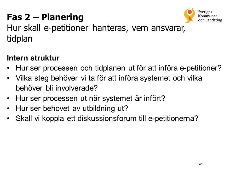 24 Fas 2 – Planering Hur skall e-petitioner hanteras, vem ansvarar, tidplan Intern struktur •Hur ser processen och tidplanen ut för att införa e-petit