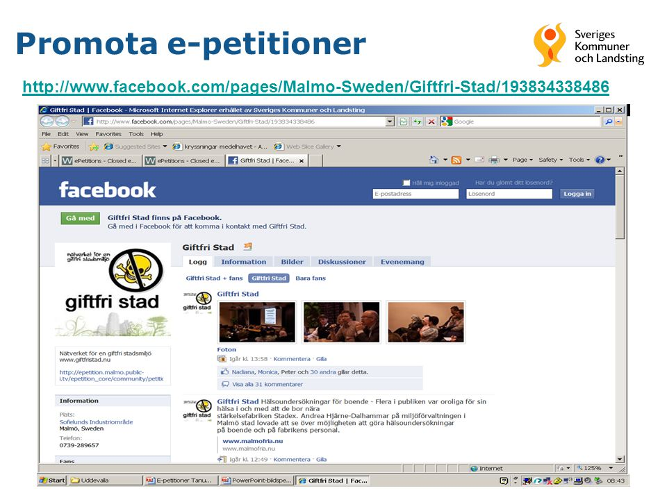 29 Promota e-petitioner http://www.facebook.com/pages/Malmo-Sweden/Giftfri-Stad/193834338486