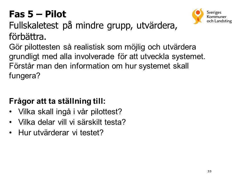 33 Fas 5 – Pilot Fullskaletest på mindre grupp, utvärdera, förbättra. Gör pilottesten så realistisk som möjlig och utvärdera grundligt med alla involv