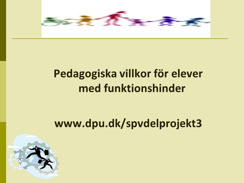 Fokus på lärande miljön som barn med funktionshinder tillbjudes  Projektet utgår från en antagelse om, at der på tvärs av kategorierna av barn med funktionshinder är mera, der förenar än åtskiljer, när fokus riktas mot de pedagogiske grundlagsvillkor for dessa barns lärande processer  De kategorier, der dras in, är valt, för att de pedagogisk sett förstås som olika i förhållande till karaktären av den (special) pedagogiska insats, der traditionellt är satt in med – och relativt segregerade:  Elever med cerebral pares  Elever der är blinde  Elever med diagnosen ADHD  Elever i problematiska lärande situationen  Elever med diagnosen autism spektrum störinger  Elever med dyslexi