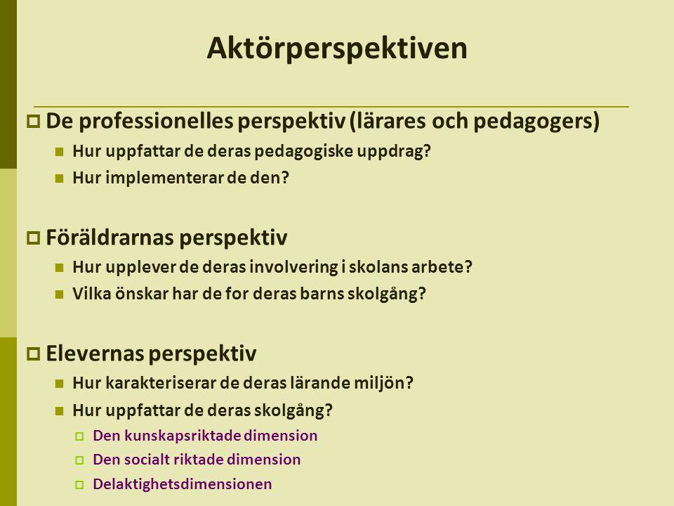Aktörperspektiven  De professionelles perspektiv (lärares och pedagogers)  Hur uppfattar de deras pedagogiske uppdrag.