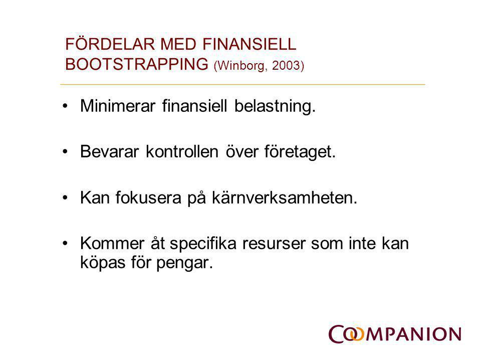 FÖRDELAR MED FINANSIELL BOOTSTRAPPING (Winborg, 2003) •Minimerar finansiell belastning. •Bevarar kontrollen över företaget. •Kan fokusera på kärnverks