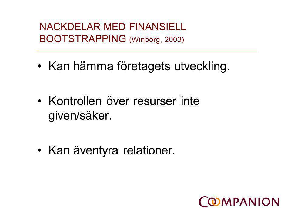 NACKDELAR MED FINANSIELL BOOTSTRAPPING (Winborg, 2003) •Kan hämma företagets utveckling. •Kontrollen över resurser inte given/säker. •Kan äventyra rel