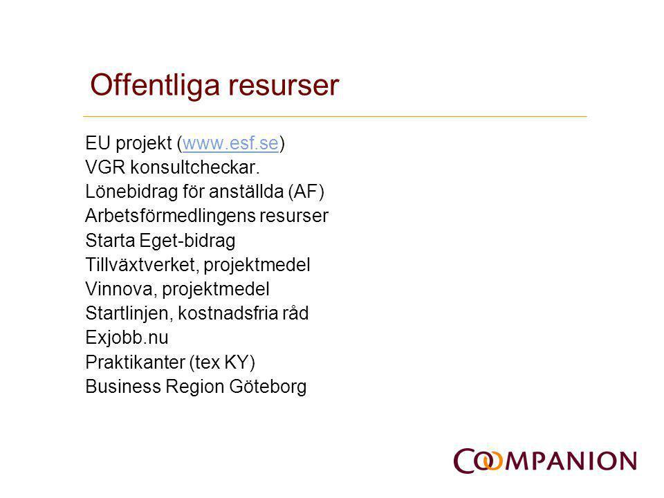 Offentliga resurser EU projekt (www.esf.se)www.esf.se VGR konsultcheckar. Lönebidrag för anställda (AF) Arbetsförmedlingens resurser Starta Eget-bidra