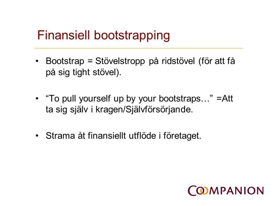 Metoder i bootstrapping •Kostnadsreducering •Externa aktörer (kund/lev finansiering) •Ägaren och släkt(kapital) •Offentliga bidrag •Cash management •Leasing •Outsourcing