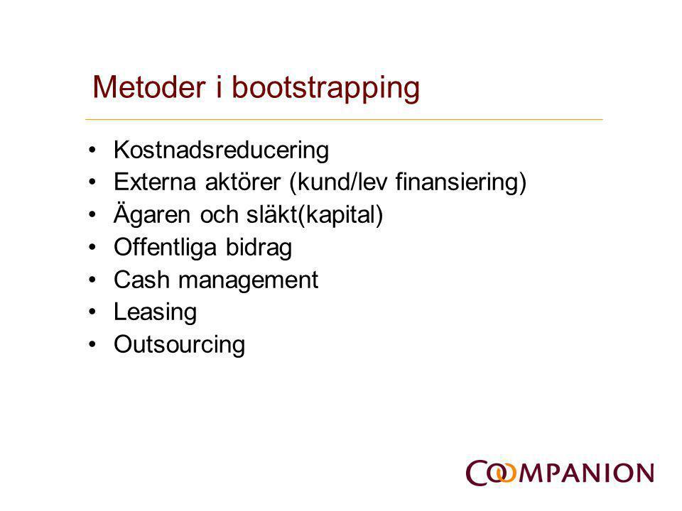 Metoder i bootstrapping •Kostnadsreducering •Externa aktörer (kund/lev finansiering) •Ägaren och släkt(kapital) •Offentliga bidrag •Cash management •L