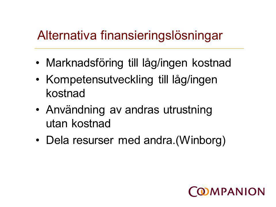 Alternativa finansieringslösningar •Marknadsföring till låg/ingen kostnad •Kompetensutveckling till låg/ingen kostnad •Användning av andras utrustning