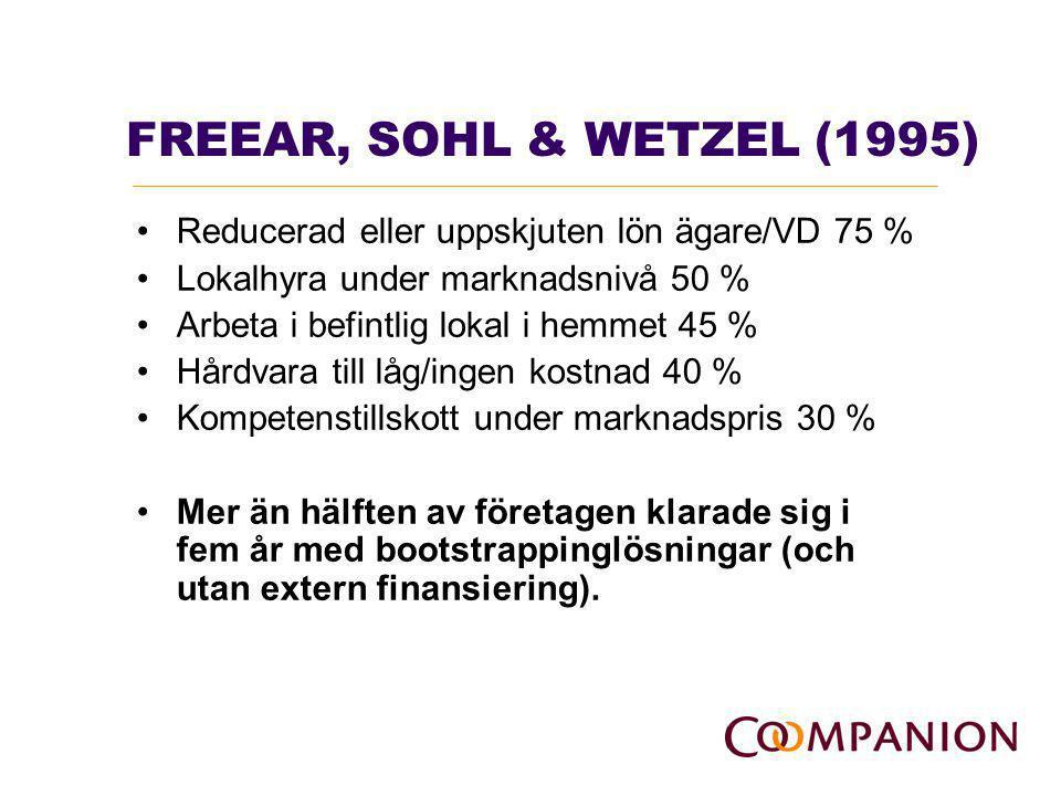 WINBORG & LANDSTRÖM (2001) Använda metoder: -Köpa begagnad utrustning istället för ny (78 %) -Förhandla fram bästa villkor med leverantör (74 %) -Hålla inne ägarens lön viss period (45 %) -Medvetet fördröja betalning till leverantör (44 %) -Använda rutiner för påskynda inbetalningar (44 %) -Låna utrustning från andra företag (42 %) -Använda factoring för att frigöra kapital (3 %) -Dela anställda med andra företag (8 %) -Dela utrustning med andra företag (8 %)