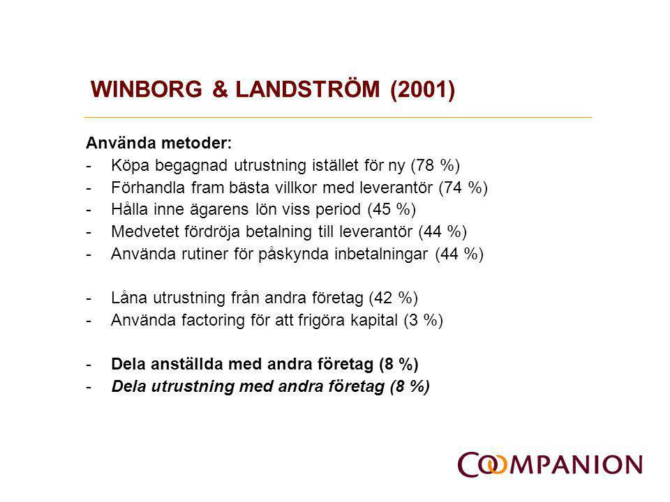 WINBORG & LANDSTRÖM (2001) Använda metoder: -Köpa begagnad utrustning istället för ny (78 %) -Förhandla fram bästa villkor med leverantör (74 %) -Håll