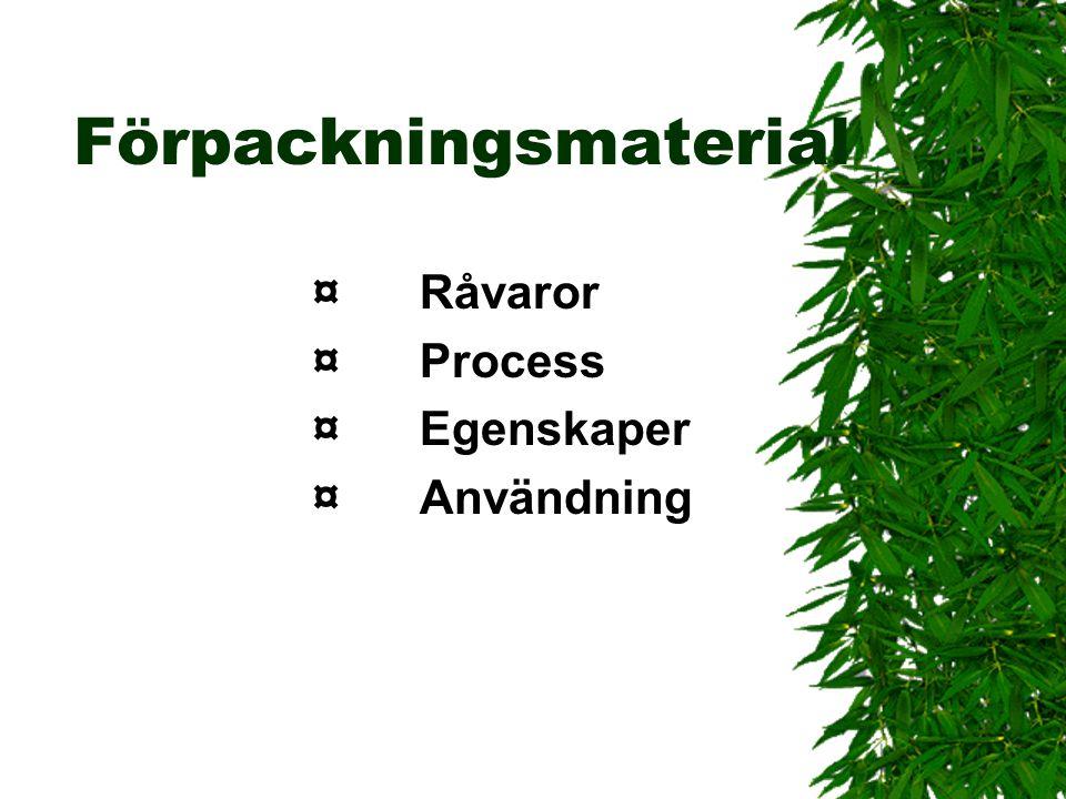Förpackningsmaterial ¤Råvaror ¤Process ¤Egenskaper ¤Användning