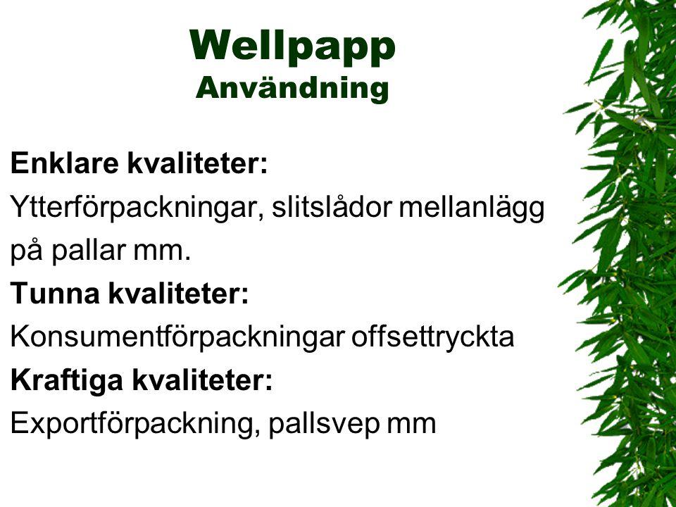 Wellpapp Användning Enklare kvaliteter: Ytterförpackningar, slitslådor mellanlägg på pallar mm. Tunna kvaliteter: Konsumentförpackningar offsettryckta
