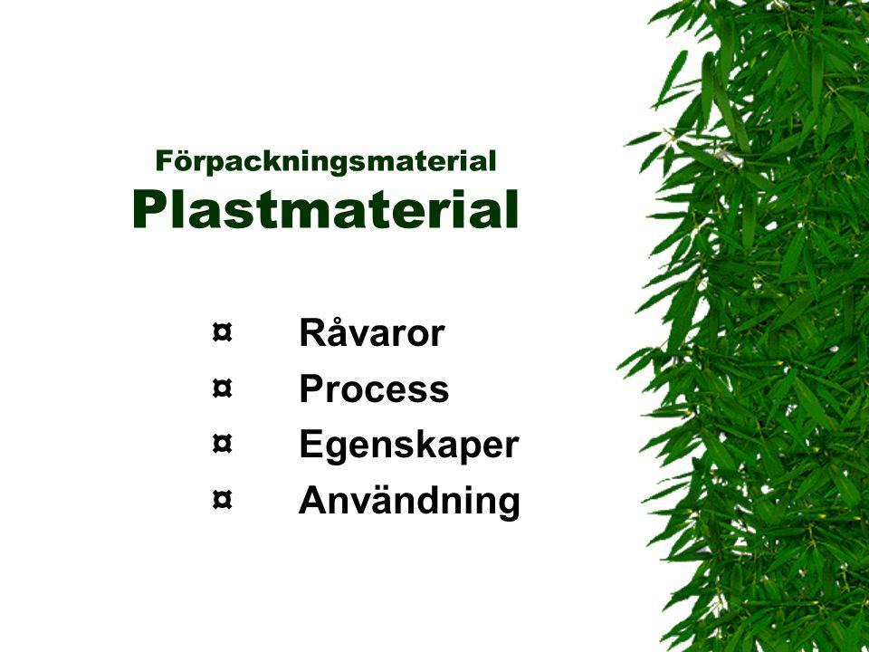 Förpackningsmaterial Plastmaterial ¤Råvaror ¤Process ¤Egenskaper ¤Användning