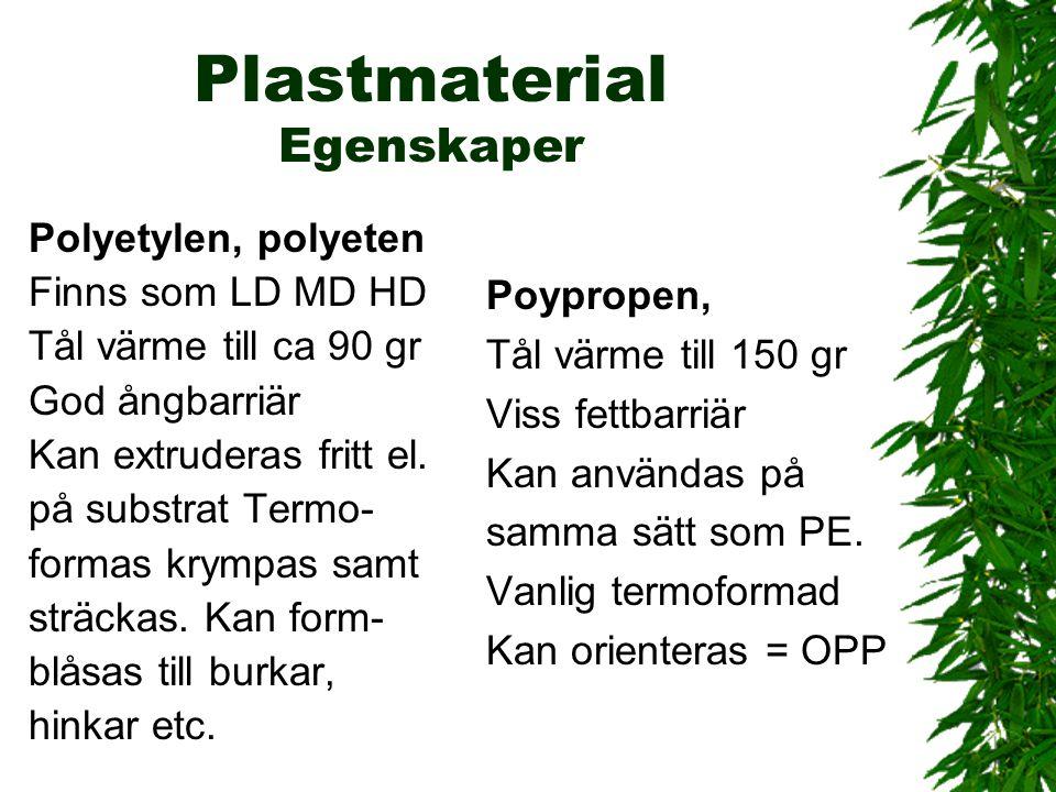 Plastmaterial Egenskaper Polyetylen, polyeten Finns som LD MD HD Tål värme till ca 90 gr God ångbarriär Kan extruderas fritt el. på substrat Termo- fo