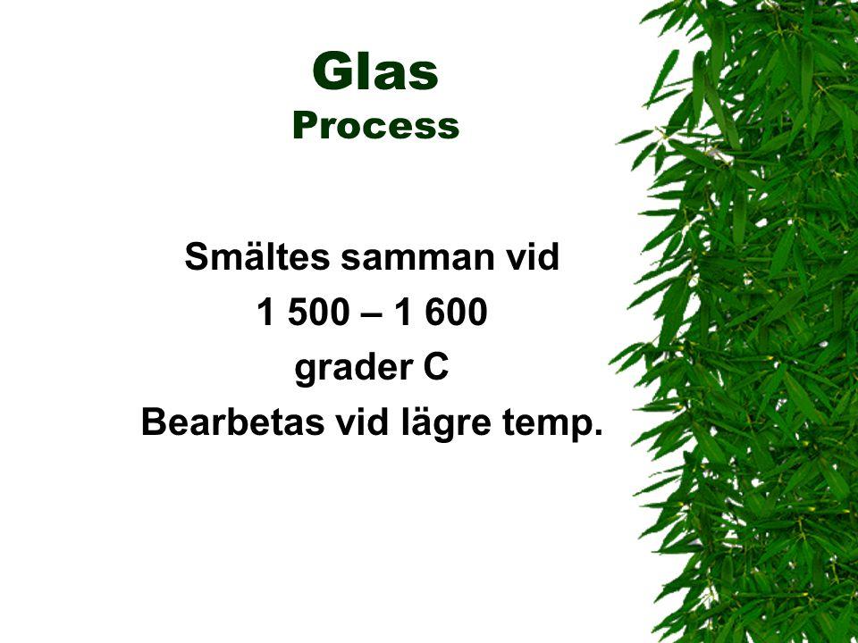 Glas Process Smältes samman vid 1 500 – 1 600 grader C Bearbetas vid lägre temp.