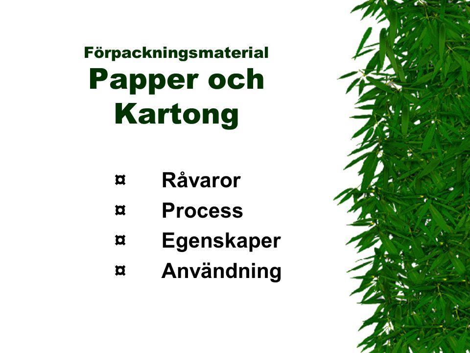 Förpackningsmaterial Papper och Kartong ¤Råvaror ¤Process ¤Egenskaper ¤Användning
