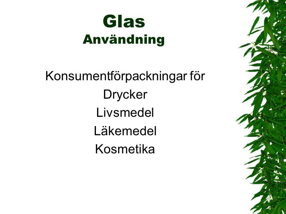 Glas Användning Konsumentförpackningar för Drycker Livsmedel Läkemedel Kosmetika