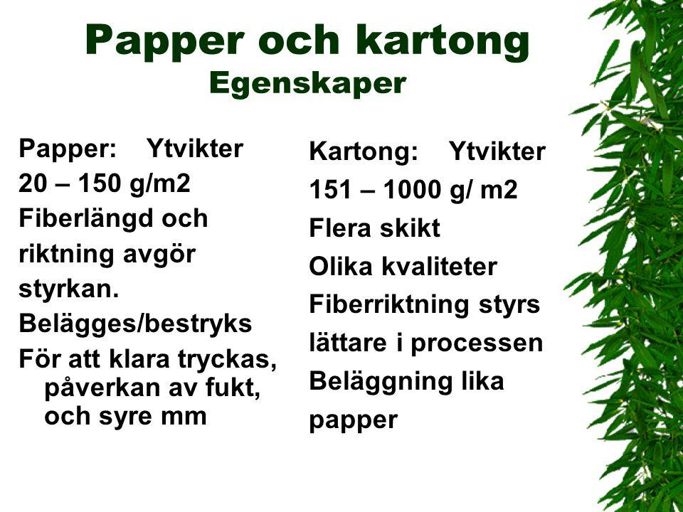 Papper och kartong Egenskaper Papper: Ytvikter 20 – 150 g/m2 Fiberlängd och riktning avgör styrkan. Belägges/bestryks För att klara tryckas, påverkan
