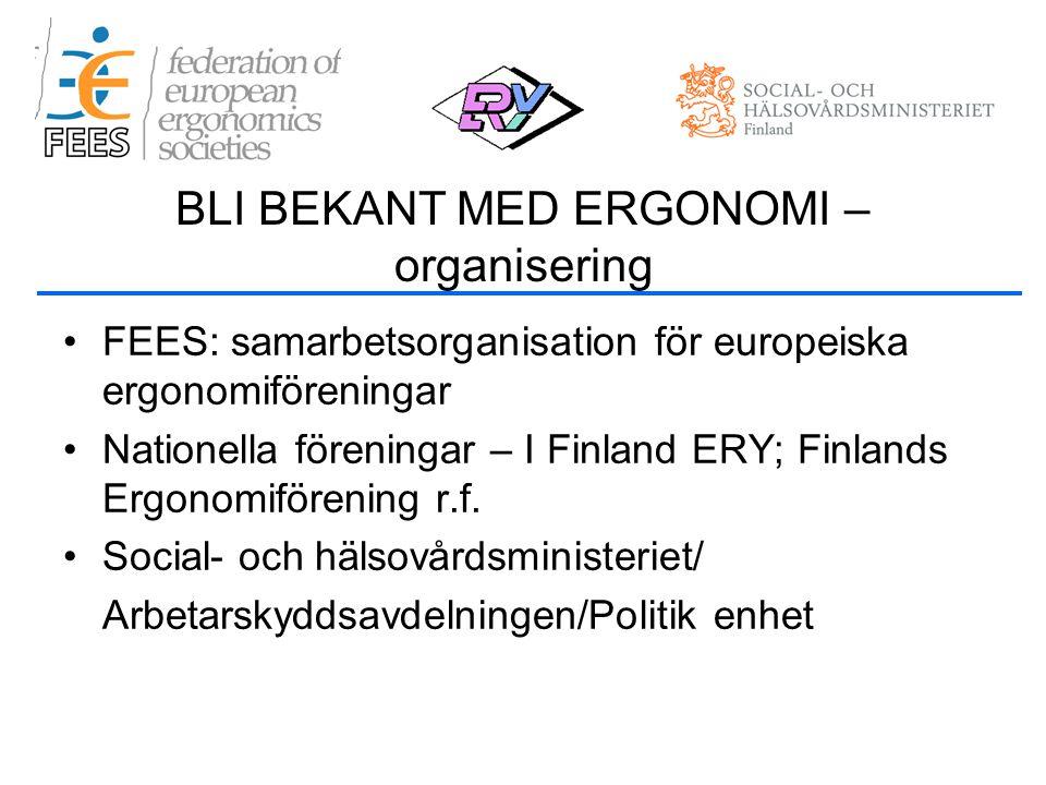 •FEES: samarbetsorganisation för europeiska ergonomiföreningar •Nationella föreningar – I Finland ERY; Finlands Ergonomiförening r.f.