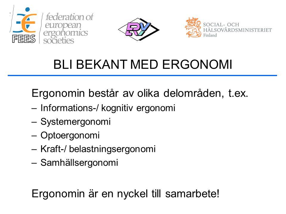 Ergonomin består av olika delområden, t.ex.