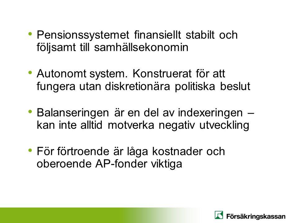 • Pensionssystemet finansiellt stabilt och följsamt till samhällsekonomin • Autonomt system.