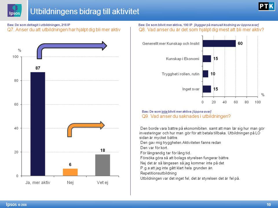 10 © 2008 Utbildningens bidrag till aktivitet Bas: De som deltagit i utbildningen, 218 IP Bas: De som blivit mer aktiva, 190 IP [bygger på manuell kodning av öppna svar] Q7.