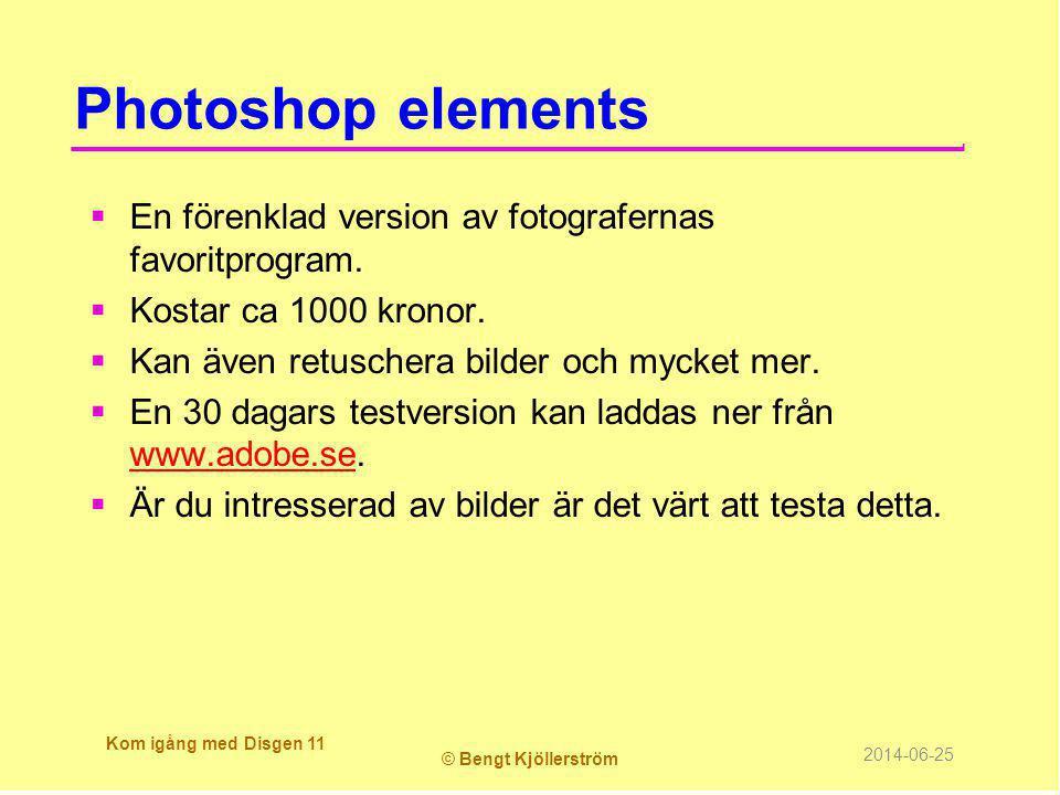Photoshop elements  En förenklad version av fotografernas favoritprogram.  Kostar ca 1000 kronor.  Kan även retuschera bilder och mycket mer.  En