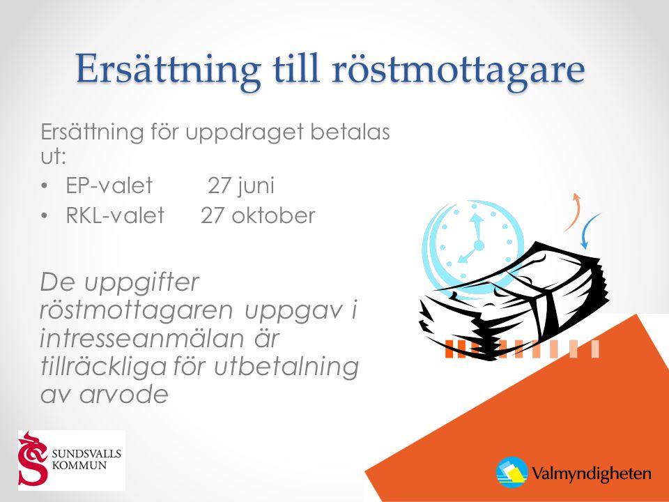 Ersättning till röstmottagare Ersättning för uppdraget betalas ut: • EP-valet 27 juni • RKL-valet 27 oktober De uppgifter röstmottagaren uppgav i intr