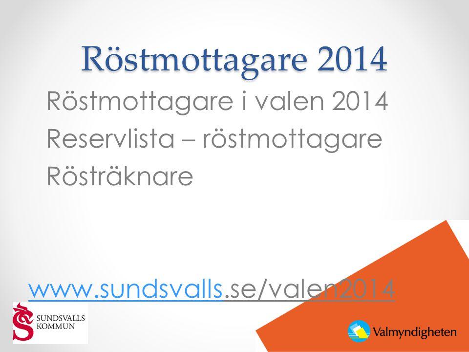 Röstmottagare 2014 Röstmottagare i valen 2014 Reservlista – röstmottagare Rösträknare www.sundsvallswww.sundsvalls.se/valen2014