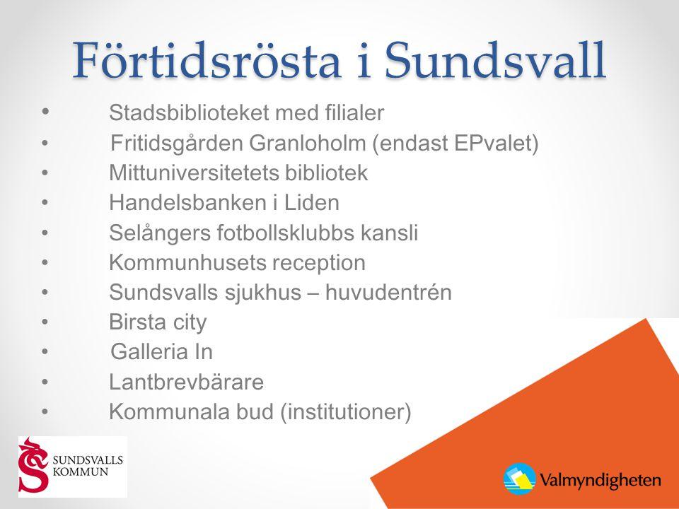 Förtidsrösta i Sundsvall • Stadsbiblioteket med filialer • Fritidsgården Granloholm (endast EPvalet) • Mittuniversitetets bibliotek • Handelsbanken i