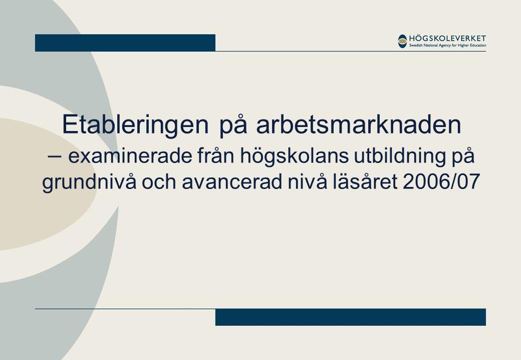 Etableringen på arbetsmarknaden – examinerade från högskolans utbildning på grundnivå och avancerad nivå läsåret 2006/07