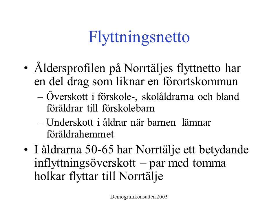 Demografikonsulten 2005 Flyttningsnetto •Åldersprofilen på Norrtäljes flyttnetto har en del drag som liknar en förortskommun –Överskott i förskole-, s