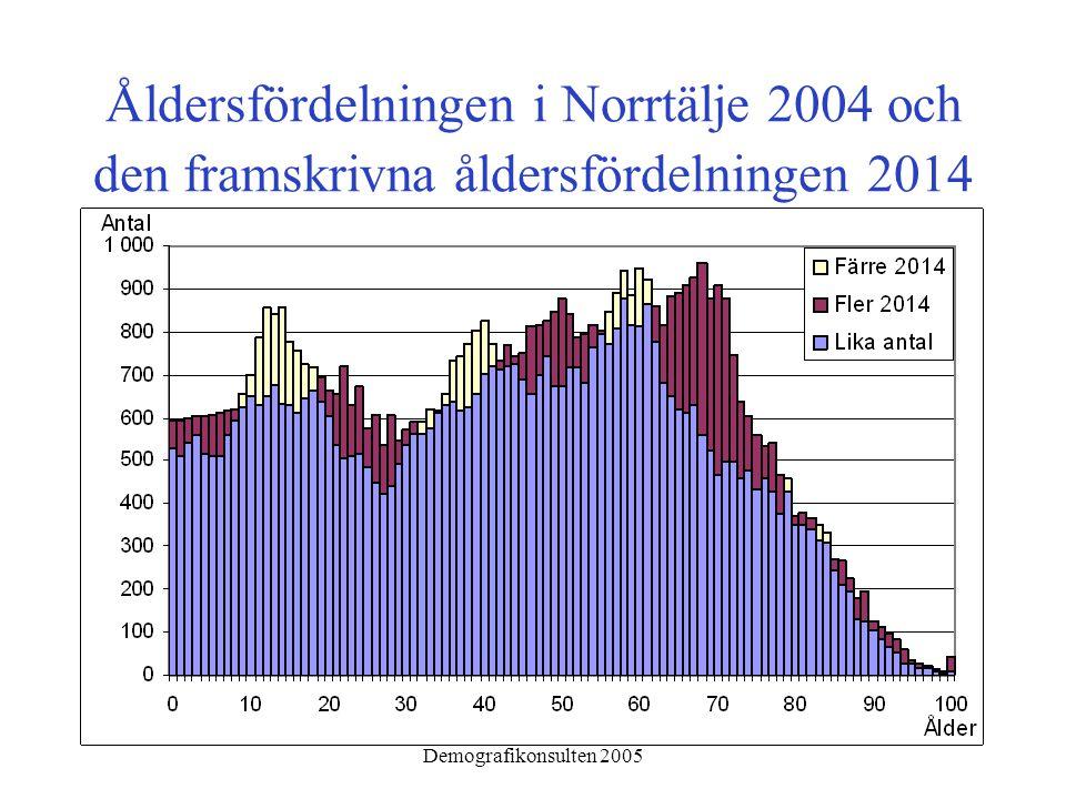 Demografikonsulten 2005 Åldersfördelningen i Norrtälje 2004 och den framskrivna åldersfördelningen 2014