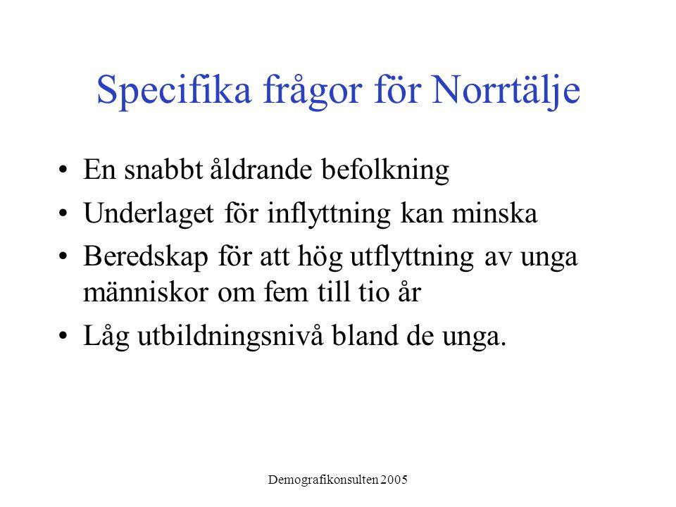 Demografikonsulten 2005 Specifika frågor för Norrtälje •En snabbt åldrande befolkning •Underlaget för inflyttning kan minska •Beredskap för att hög utflyttning av unga människor om fem till tio år •Låg utbildningsnivå bland de unga.