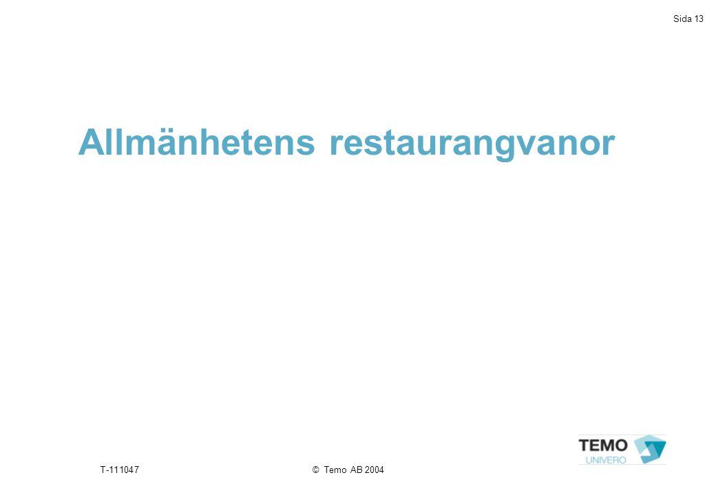 Sida 13 T-111047© Temo AB 2004 Allmänhetens restaurangvanor