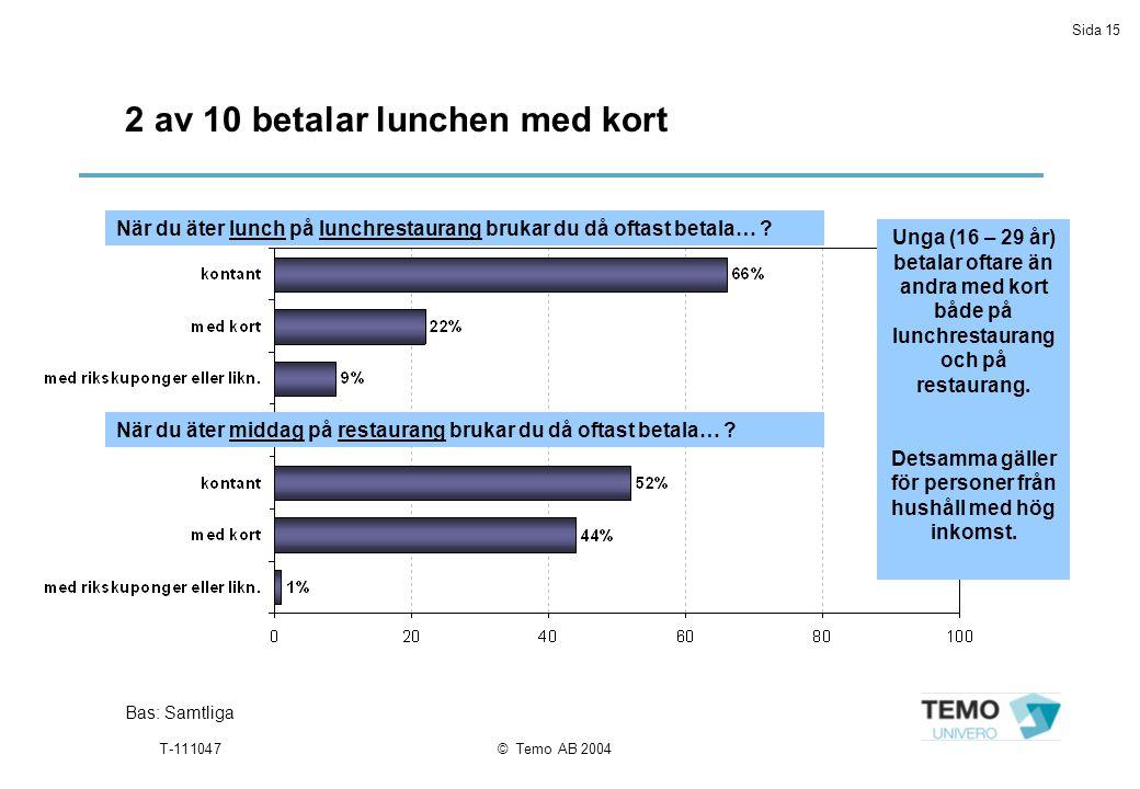 Sida 15 T-111047© Temo AB 2004 2 av 10 betalar lunchen med kort Bas: Samtliga När du äter lunch på lunchrestaurang brukar du då oftast betala… .