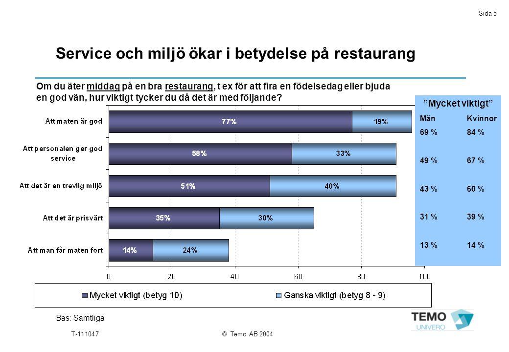 Sida 5 T-111047© Temo AB 2004 Service och miljö ökar i betydelse på restaurang Bas: Samtliga Om du äter middag på en bra restaurang, t ex för att fira en födelsedag eller bjuda en god vän, hur viktigt tycker du då det är med följande.