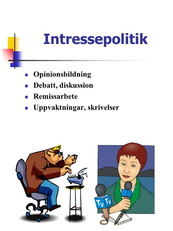 Intressepolitik  Opinionsbildning  Debatt, diskussion  Remissarbete  Uppvaktningar, skrivelser