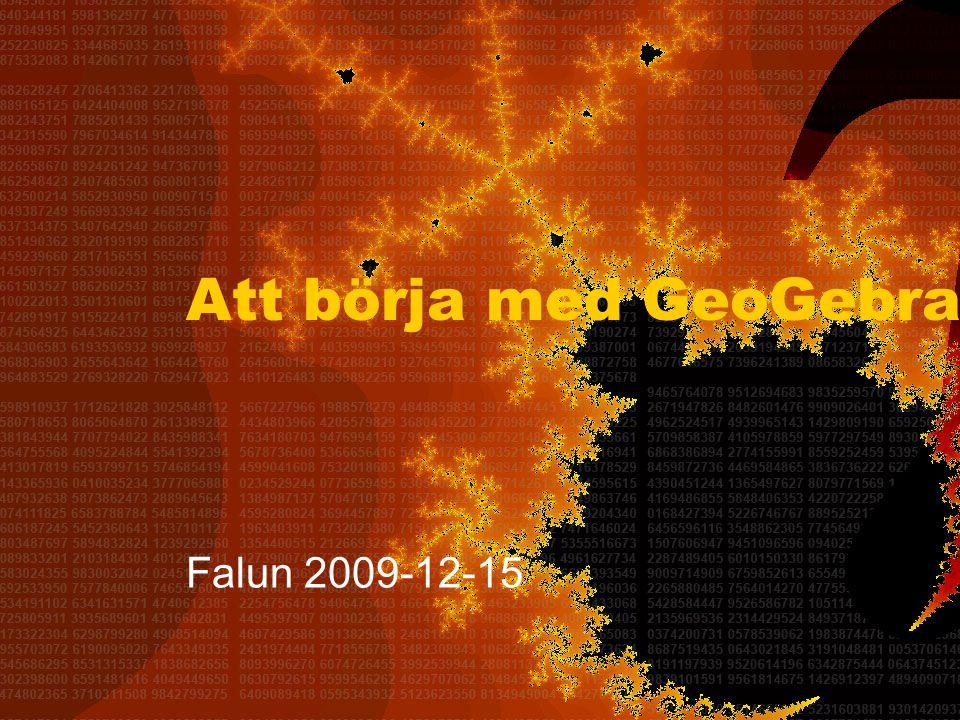 Att börja med GeoGebra Falun 2009-12-15