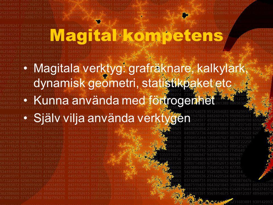 Magital kompetens •Magitala verktyg: grafräknare, kalkylark, dynamisk geometri, statistikpaket etc •Kunna använda med förtrogenhet •Själv vilja använda verktygen
