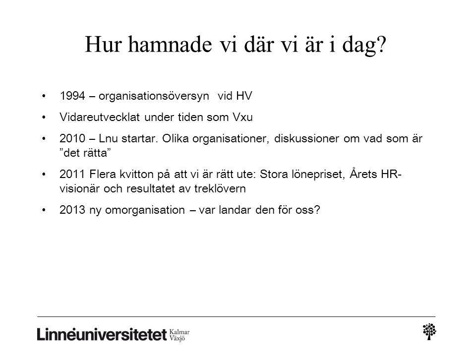 Hur hamnade vi där vi är i dag? • 1994 – organisationsöversyn vid HV • Vidareutvecklat under tiden som Vxu • 2010 – Lnu startar. Olika organisationer,