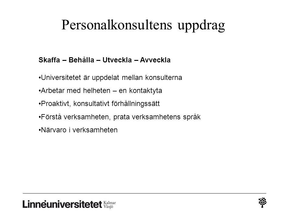 Personalkonsultens uppdrag Skaffa – Behålla – Utveckla – Avveckla •Universitetet är uppdelat mellan konsulterna •Arbetar med helheten – en kontaktyta