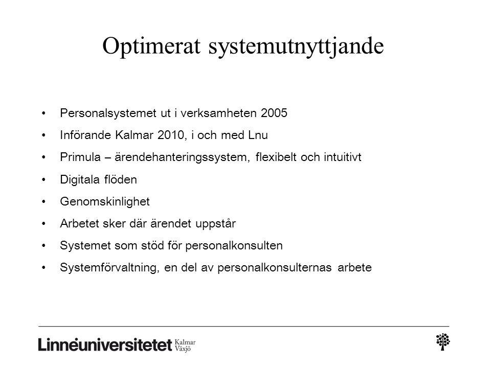 Optimerat systemutnyttjande • Personalsystemet ut i verksamheten 2005 • Införande Kalmar 2010, i och med Lnu • Primula – ärendehanteringssystem, flexi