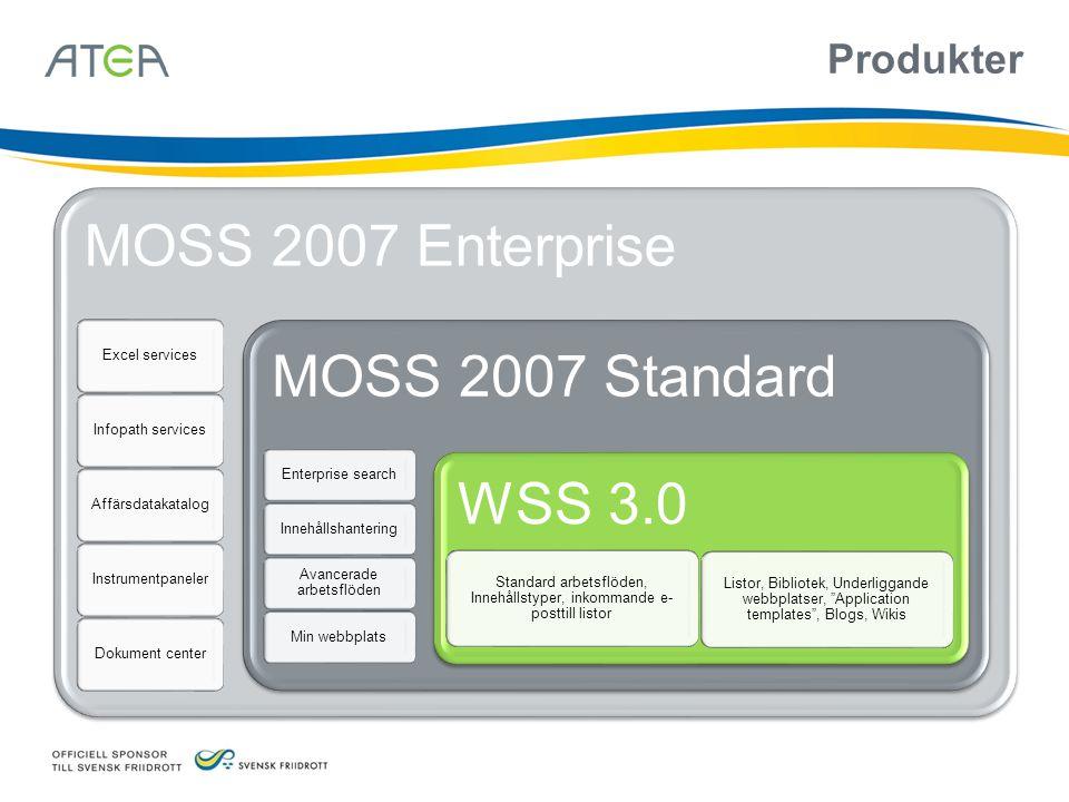 Produkter MOSS 2007 Enterprise Excel servicesInfopath servicesAffärsdatakatalogInstrumentpanelerDokument center MOSS 2007 Standard Enterprise searchIn